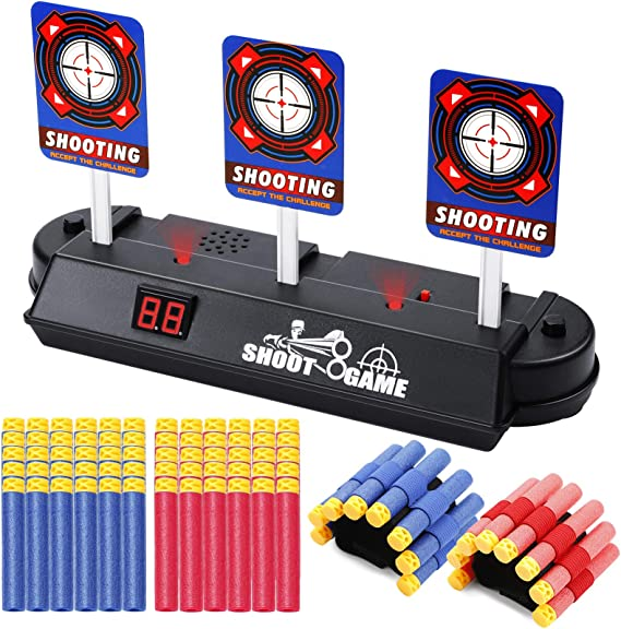 EXTSUD Juguete Objetivo Electrónico para Pistolas con 60 Dardos y 2 Pulseras, Restablecimiento Automático, Apto para N-Strike Elite / Mega / Rival Series