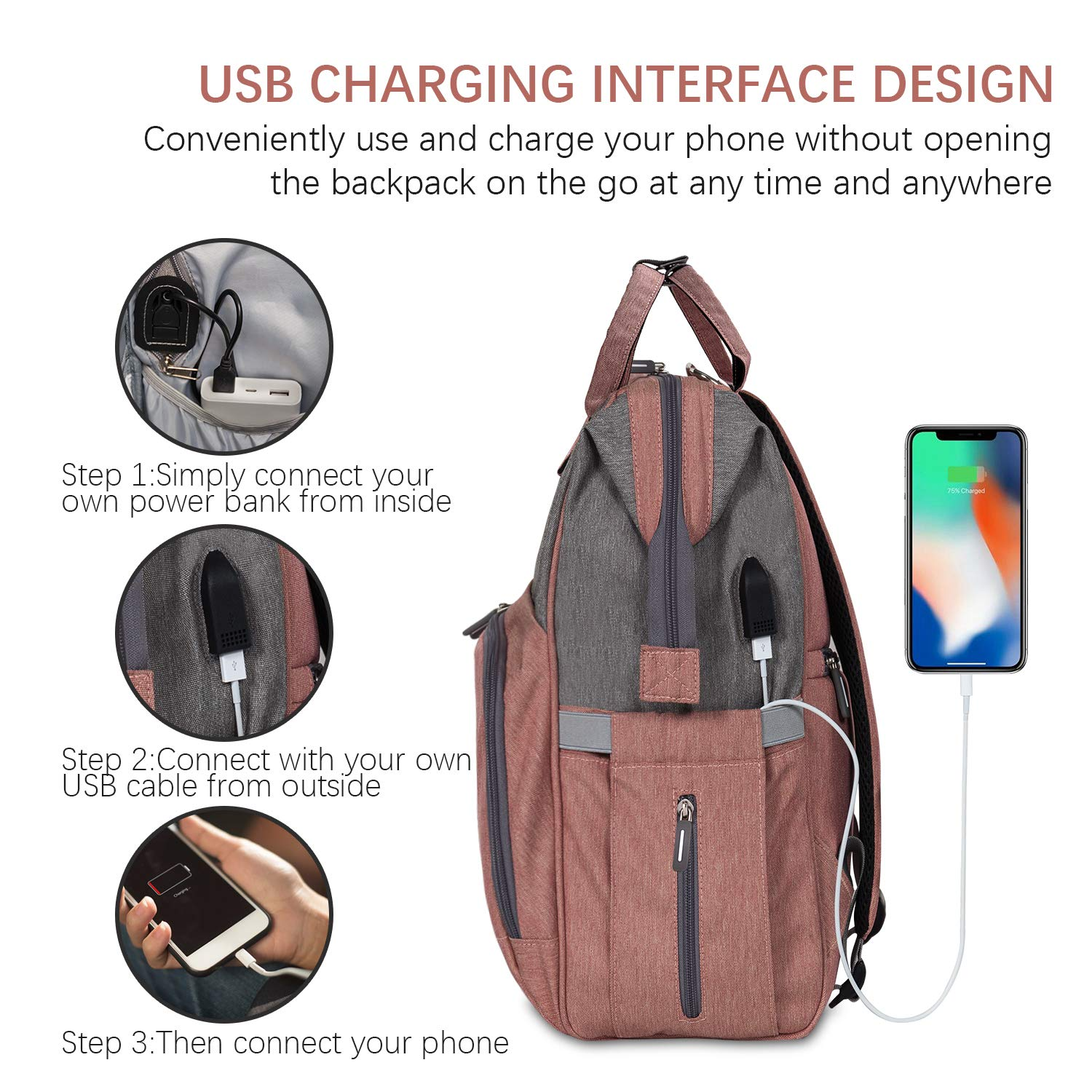 Diaper Bag Backpack Nappy Bag Upsimples Baby Bags for Mom Maternity Diaper Bag with USB Charging Port Stroller Straps Thermal Pockets Wide Shoulder Straps Water Resistant  Pink by upsimples (Image #2)