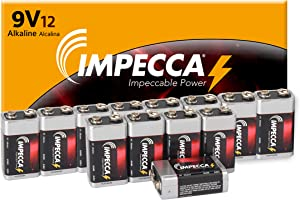 IMPECCA 9 Volt Batteries Super Alkaline(12 Count) Ultra Long Lasting 9V Battery High Performance Power All-Purpose Leak-Resistant 9V Cell Great for Smoke & Fire Alarms, Tens Units, 12 Pack