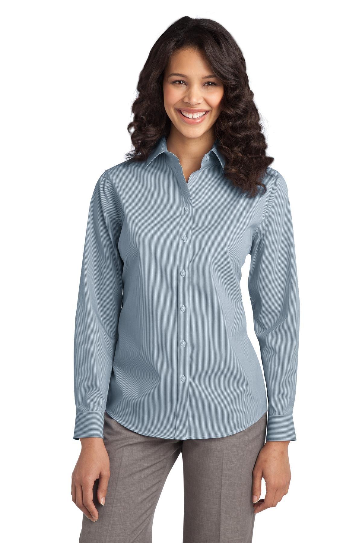 Port Authority Women's Fine Stripe Stretch Poplin Shirt M Moonlight Blue/ White