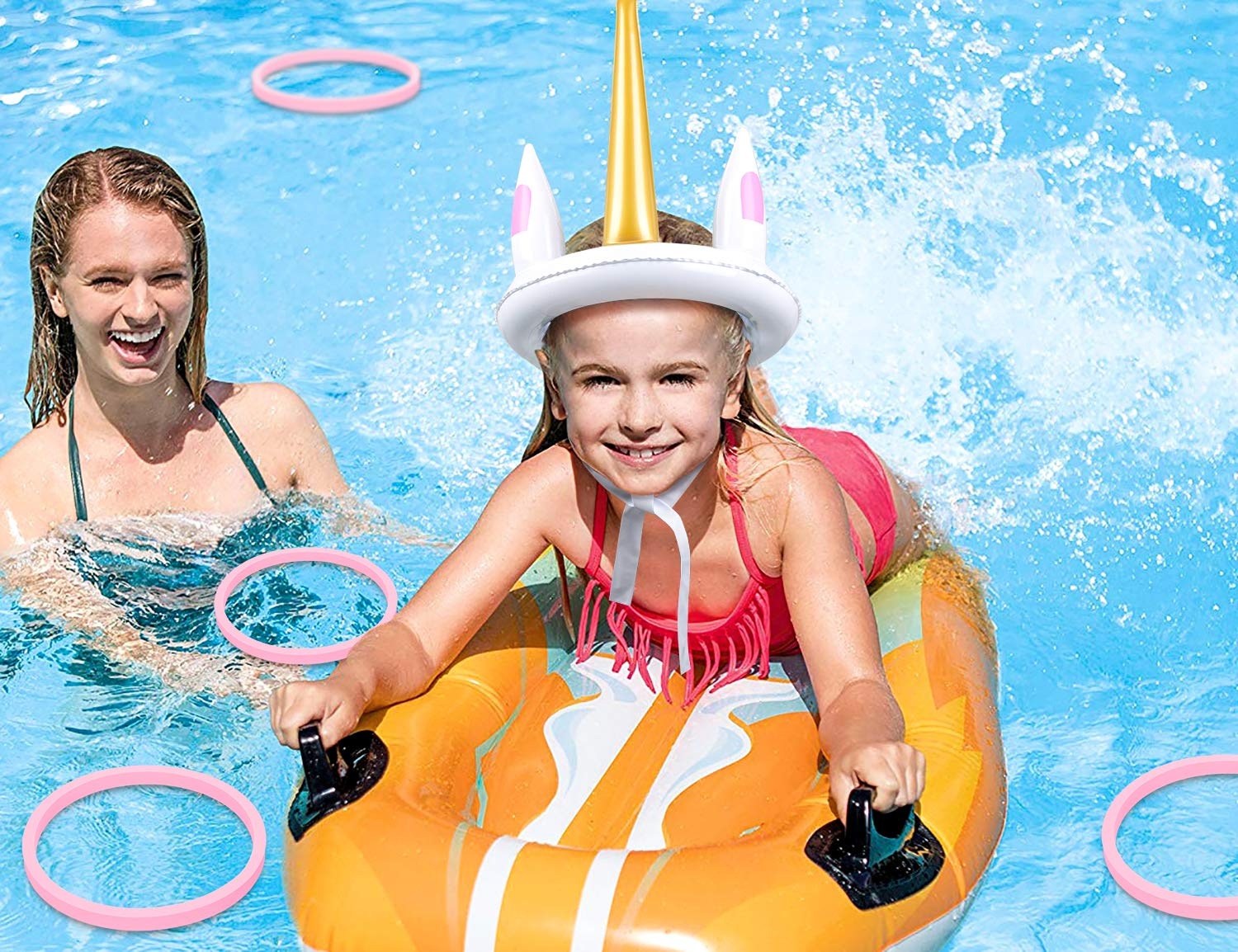 luck sea Unicorn Inflatable Ring Toss Pool Party Games Toys Floats Luau Supplies Favors for Teens Adults 8