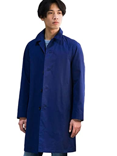 Cotton Silk Balmacaan Coat 3225-139-2297: Navy