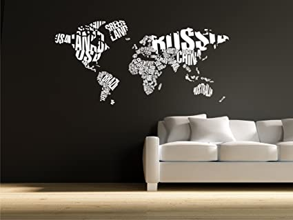 Amazon world map in typography wall decal stickers decor world map in typography wall decal stickers decor graphics gumiabroncs Choice Image