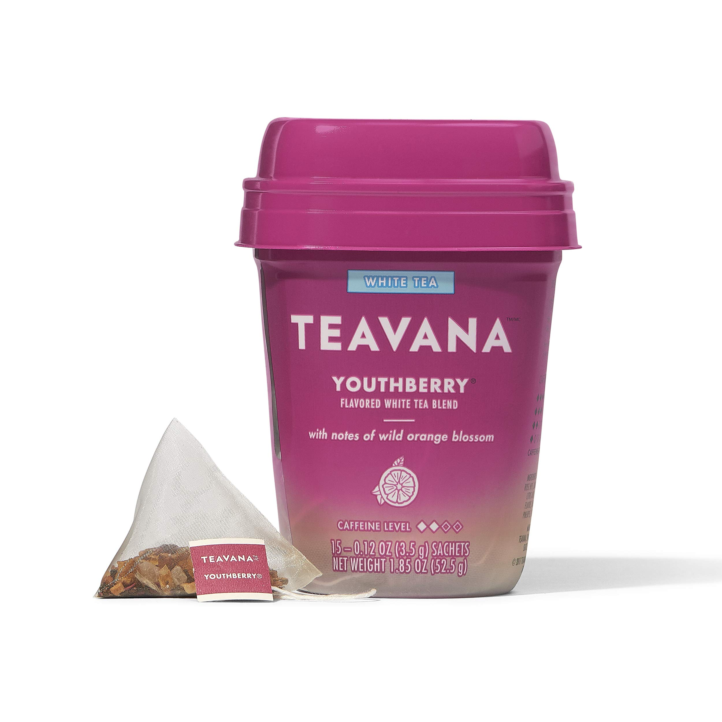 Teavana Youthberry, White Tea With Notes of Wild Orange Blossom, 60 Count (4 packs of 15 sachets)