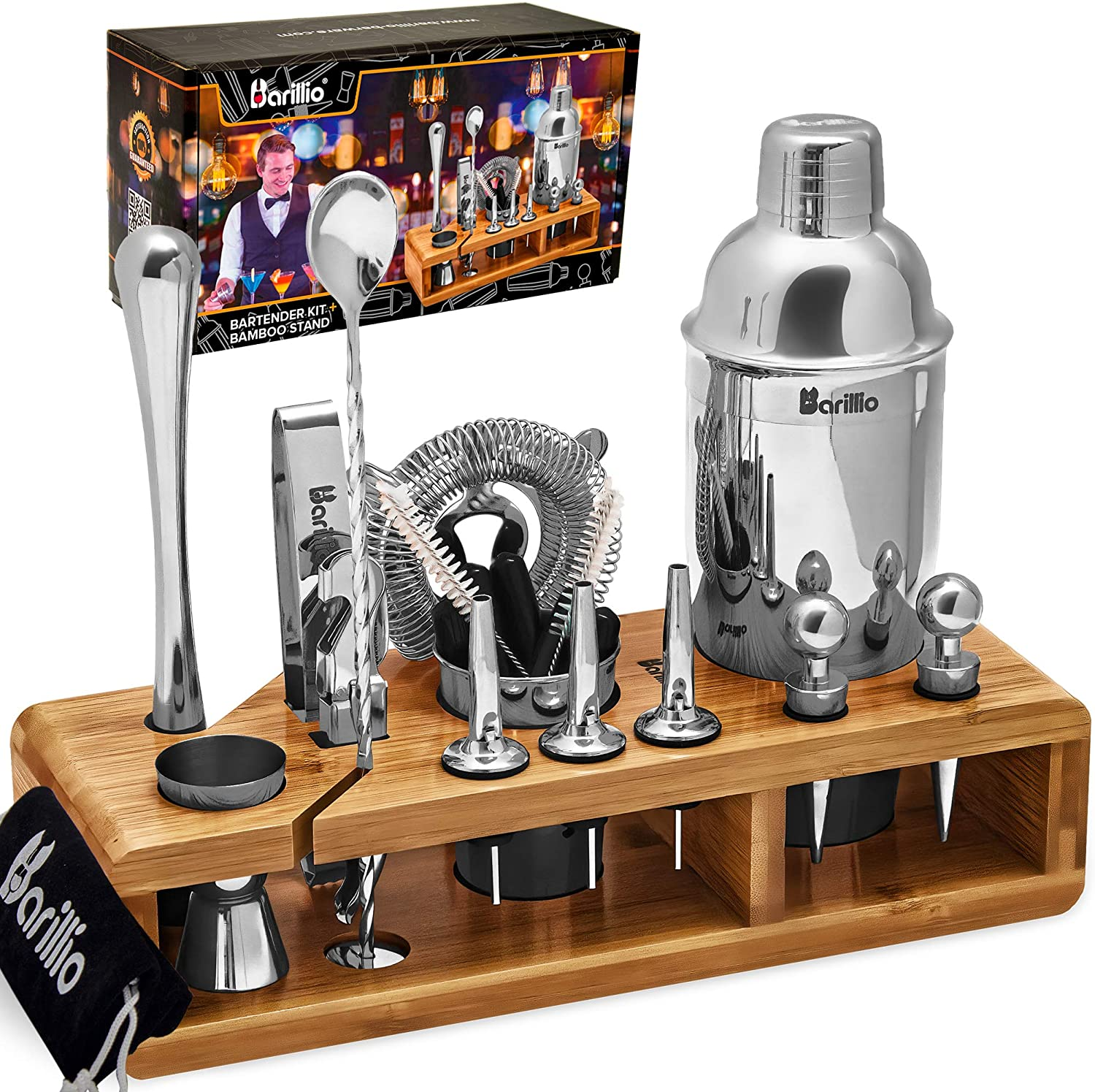 Barillio Elite Mixology Cocktail Bar Set With Bamboo Stand