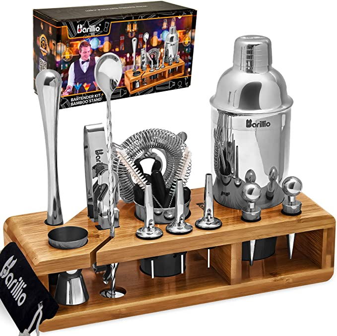 Elite 23 Piece Bartender Kit Cocktail Shaker Set By Barillio Stainless Steel Bar Tools With Sleek Bamboo Stand Velvet Carry Bag Recipes Booklet Ultimate Drink Mixing Adventure Kitchen Dining Amazon Com