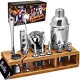 Elite 23-Piece Bartender Kit Cocktail Shaker Set by BARILLIO: Stainless Steel Bar Tools With Sleek Bamboo Stand, Velvet Carry
