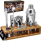 Elite 23-Piece Bartender Kit Cocktail Shaker Set by BARILLIO: Stainless Steel Bar Tools With Sleek Bamboo Stand, Velvet…