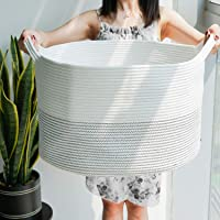 """HiChen Large Woven Laundry Basket - Floor Cotton Rope Storage Bin - Modern Collapsible Basket for Dirty Clothes - Simple White Bedroom Baby Blanket, Pillow Bin - 21.7""""D x 13.8""""H"""