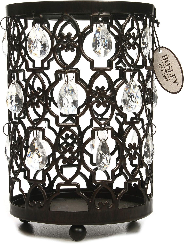 "Hosley Tea Light/Votive Candle Holder Romantic Sparkle Lantern 7.8"" High. Clear Acrylic Crystal Dandles Ideal Gift for Farmhouse Wedding, Spa, Bridal, Aromatherapy, Reiki, Chakra, Candle Garden O7"
