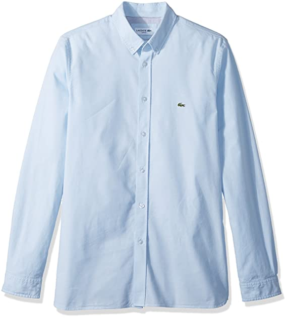 c978fdc6 Lacoste Men's Long Sleeve Solid Oxford Stretch Button Down Collar ...