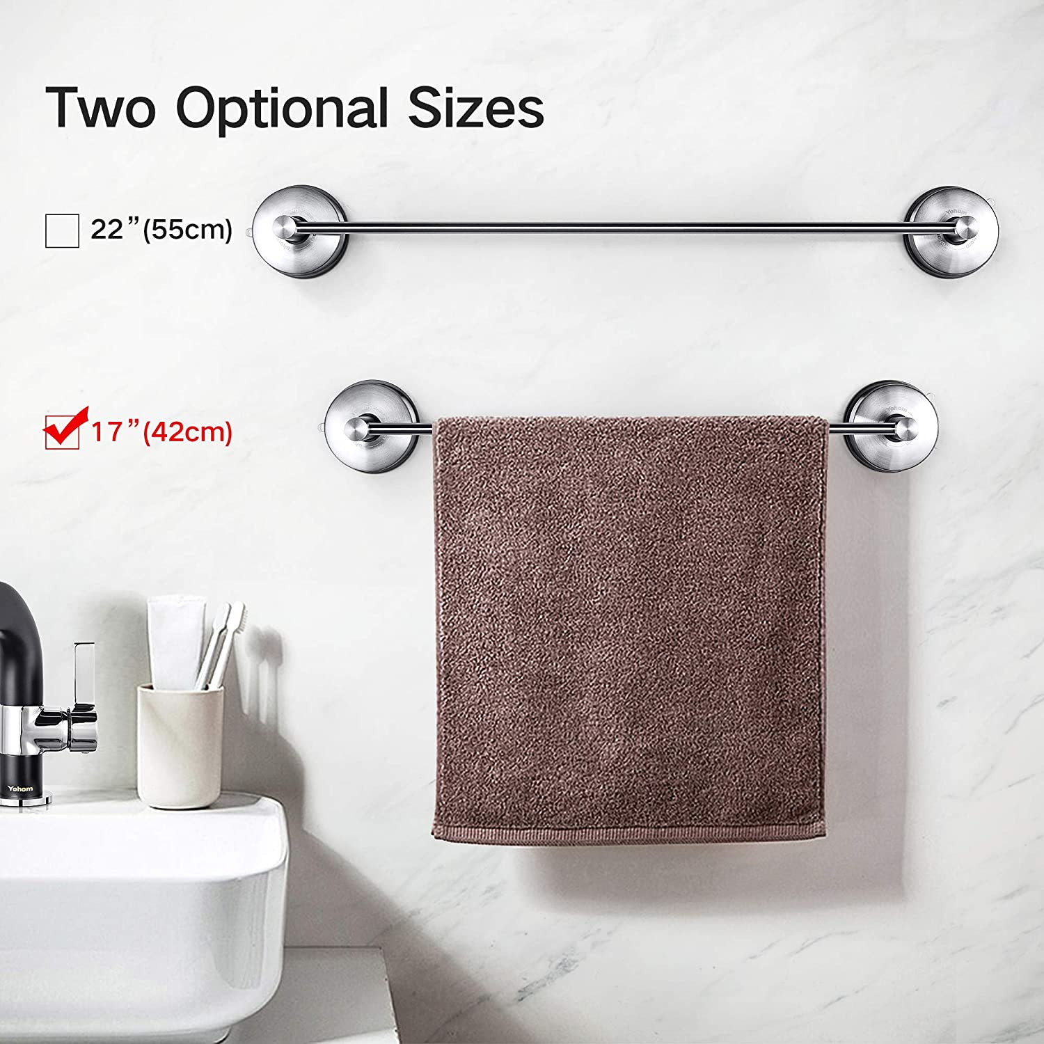42.8cm YOHOM Stainless Steel Vacuum Suction Cup 17-Inch Single Towel Rail Bar Towel Rack Holder Wall Mounted Hanger Hook Accessory for Bathroom Kitchen Lavatory,No Tool Brushed Finish