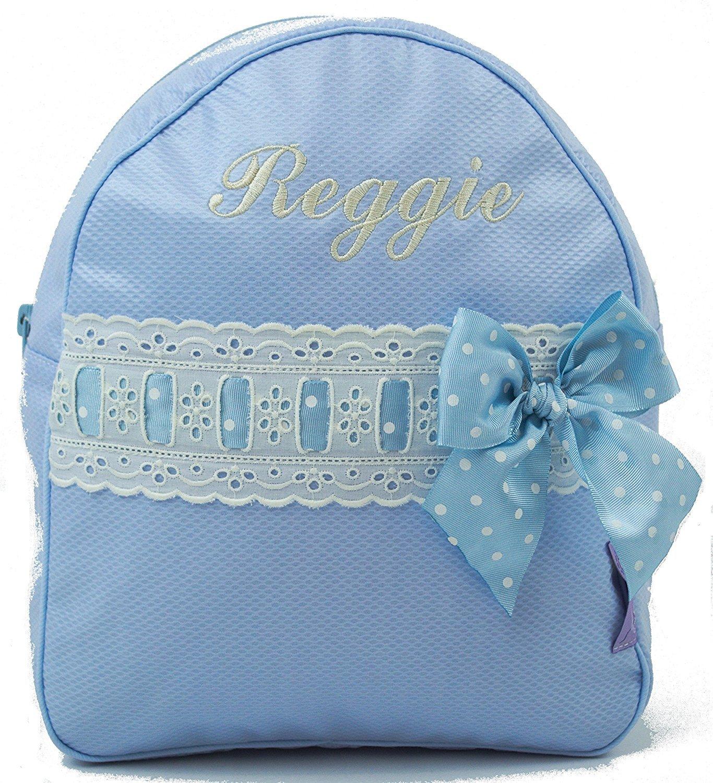 Conjunto guardería o Colegio: Mochila + Bolsa de merienda lenceras Personalizadas con Nombre en Celeste y pasacintas Beige: Amazon.es: Equipaje