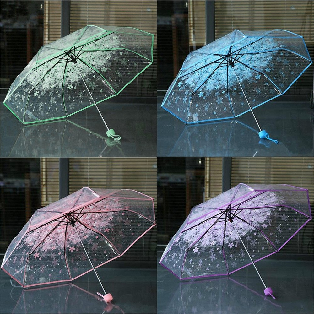 Amazon.com: VaThaStore Transparent Clear Umbrella Cherry Blossom Mushroom Apollo Sakura 3 Fold Umbrella Paraguas Plegable Transparente #B0: Baby