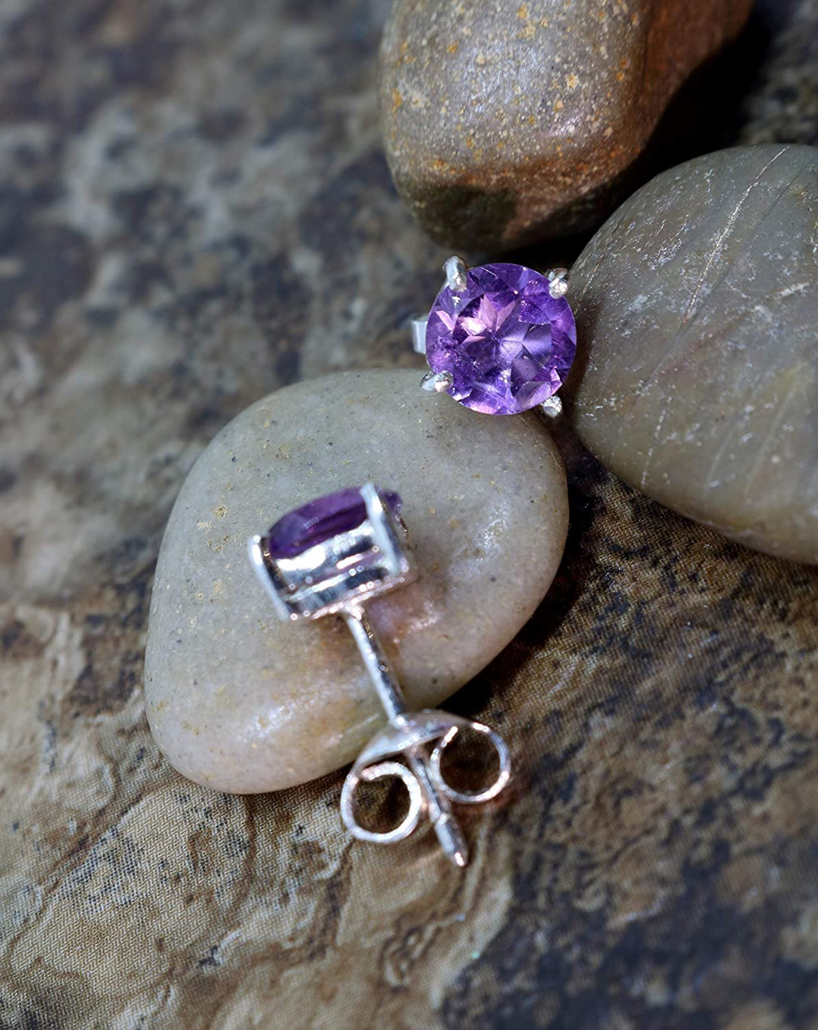 BLACK FRIDAY special SALE 27% Off - Sterling Silver Handmade Round Stud Earring with a Natural Amethyst Gemstone - For Wife for Girlfriend for Sister for Her