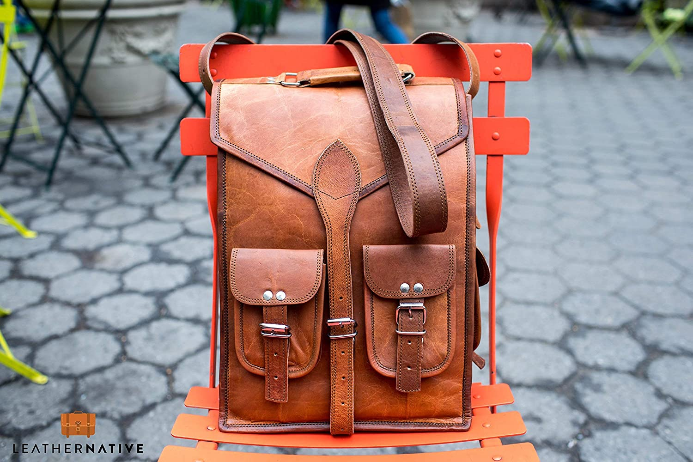"""Vintage 15/"""" Men/'s Leather Backpack bag shoulder Briefcase rucksack laptop bag"""