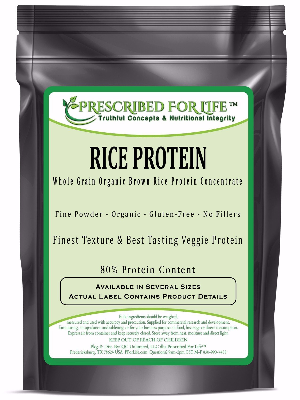 Rice Protein - Whole Grain Brown Rice Protein Concentrate - 80% Protein ING: Organic Powder, 10 kg