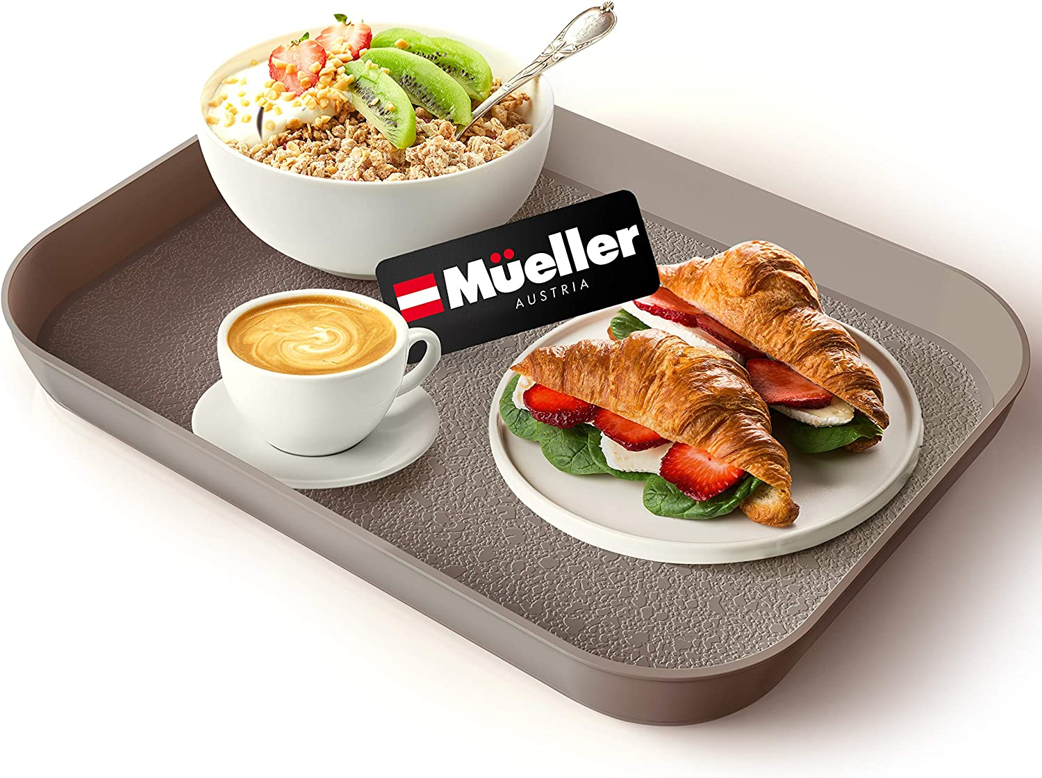 Mueller Reversible Serving Tray, European Made Platter, 2in1, Rectangular Non-Slip Tray, Shatter-Proof, Non-Toxic, for Coffee Table, Kitchen, Outdoors, Dishwasher Safe, Mocha