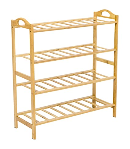 Superieur Finnhomy Portable Bamboo Shoe Rack Entryway Shoe Shelf Storage Shoe  Organizer For Closet, 4 Shelves