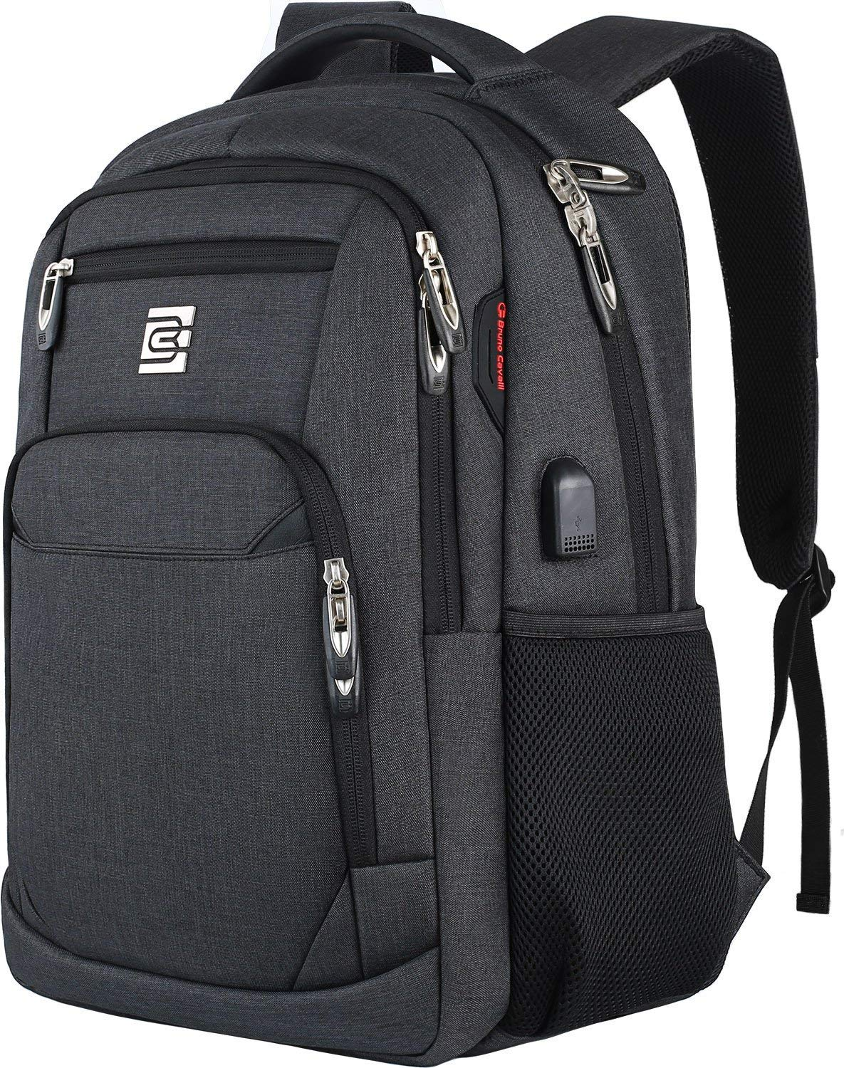 Laptop Backpack,Business Travel Anti Theft Slim Durable Laptops Backpack with USB Charging Port,Water Resistant College School Computer Bag for Women & Men Fits 15.6 Inch Laptop and Notebook - Black 1