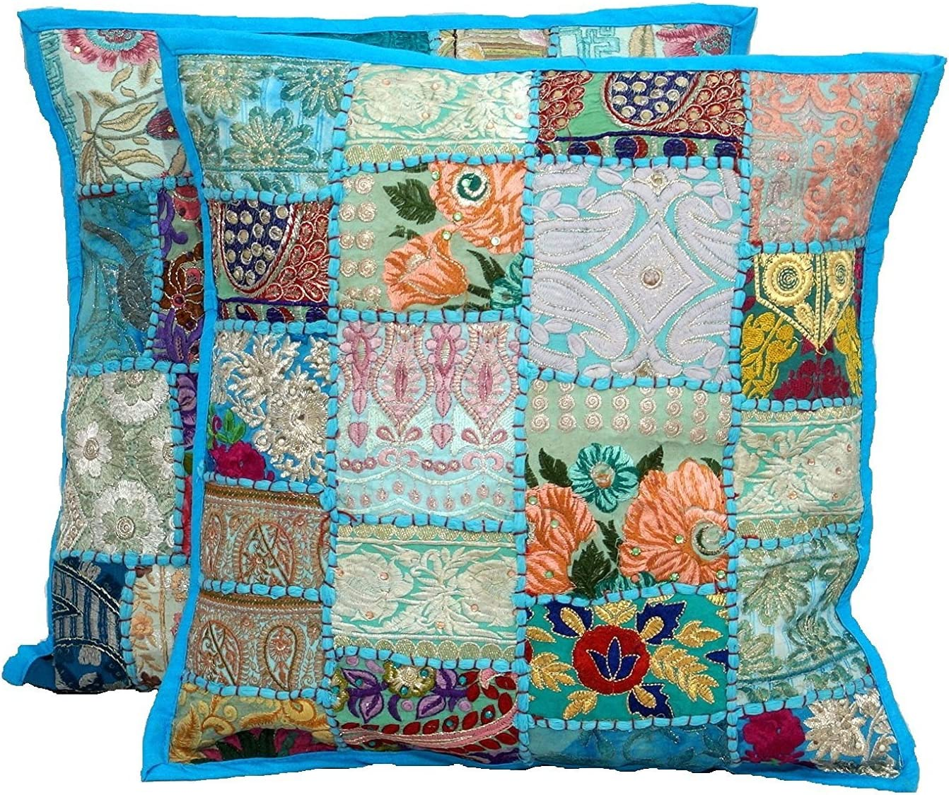 Hand Embroidered Patchwork Pillows Throw Indian Bedding Sofa Pillow Case Cover