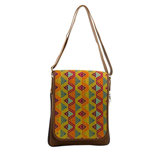 Novica Leather and cotton laptop bag, Textile Tradition