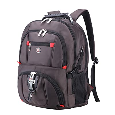 AUGUR Travel Laptop Backpack 1200D Oxford Cloth Durable Computer Bag for Men Women Water Resistant Large Capacity Backpacks Fit Most 14-Inch Laptops (Coffee Color AUGUR-02-3)