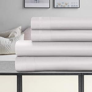 SUPERIOR Sarasota Premium 1500-Thread Count Egyptian Cotton Solid Deep Pocket Sheet Set, King, Platinum