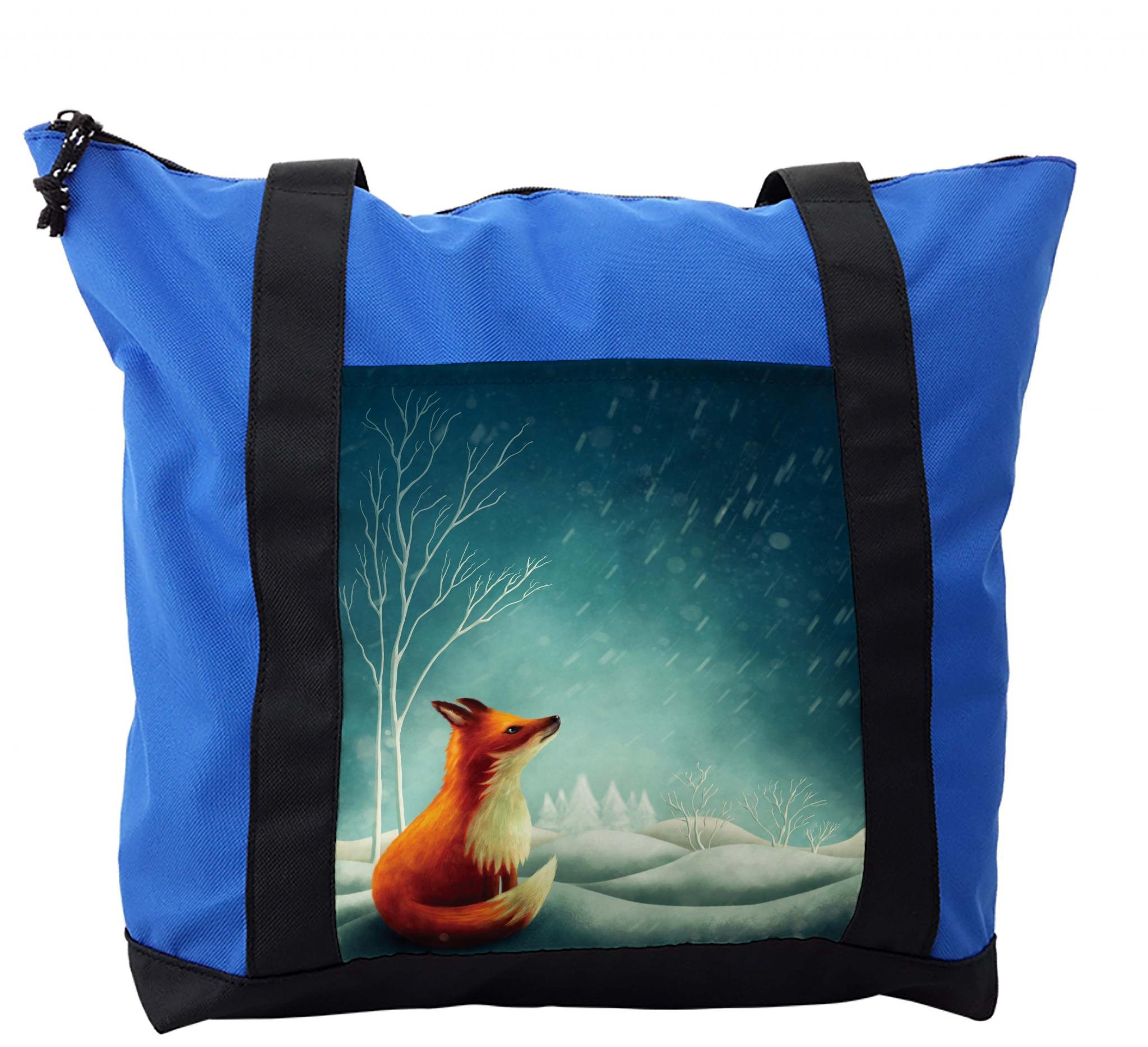 Lunarable Forest Shoulder Bag, Little Fox Looking at Sky, Durable with Zipper