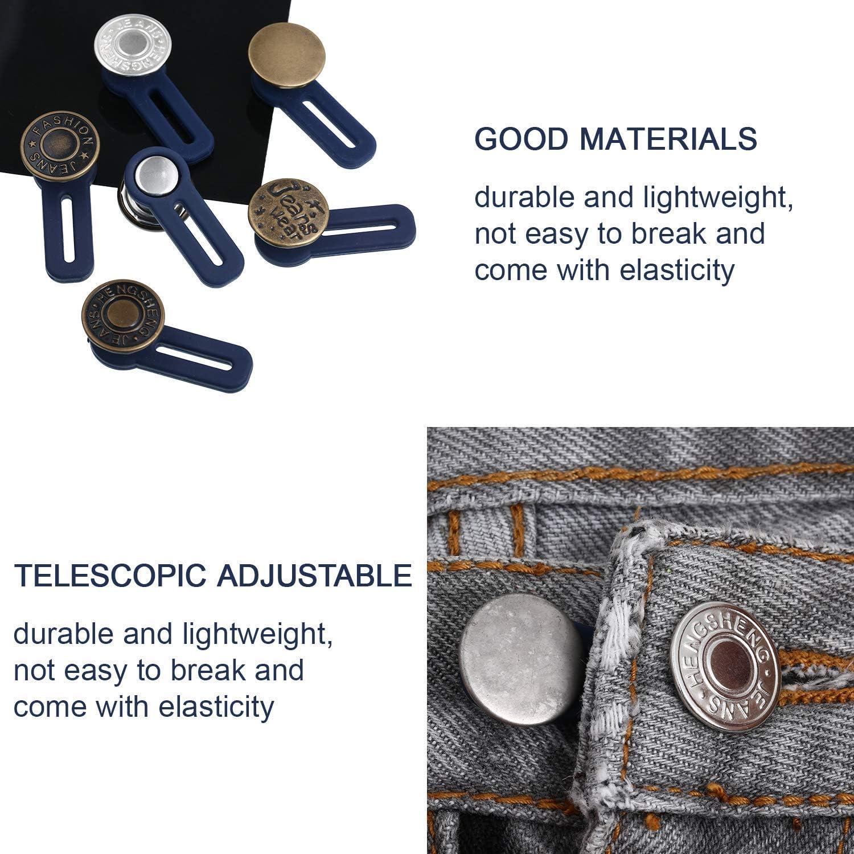 SPMA 12 Pieces Button Waist Extender Stretch Waistband Extender Elastic Metal Button Extender for Women and Men Jeans Collar Cuffs Pants Supplies