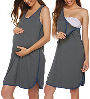 5169862802c59 Ekouaer Women's Maternity Sleeveless Dress Striped Nightgown Pregnancy Gown  for Breastfeeding