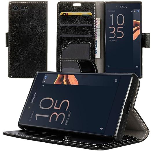 3 opinioni per Custodia per Sony Xperia X Compact, Qoosea PU Pelle Custodia Retro Stand Flip