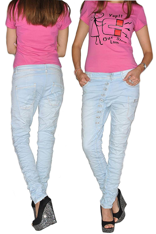 Damen Jeans Boyfriend  Chino  Röhren Hose Hüfthose  Baggy Stretch 2 Farben 646