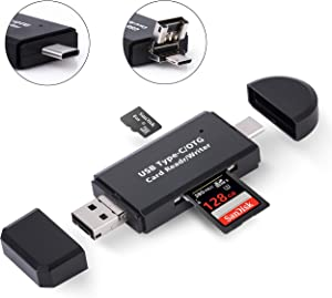 COCOCKA USB C Memory Card Reader, 3-in-1 Micro USB to USB Type-C OTG Adapter and USB 2.0 Portable Memory Card Reader for SDXC, SDHC, SD, MMC, Micro SDXC, Micro SD, Micro SDHC Card and UHS-I Cards
