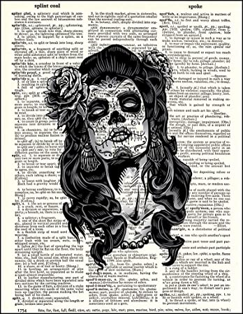 Day of the dead skull candy dictionary page art print vintage gift antiqueB24