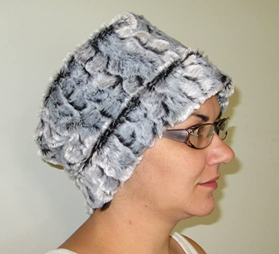 d546aab5f Amazon.com: Furry Gray Black Fleece Pillbox Chemo Hat Alopecia Head Cover  Cancer: Handmade