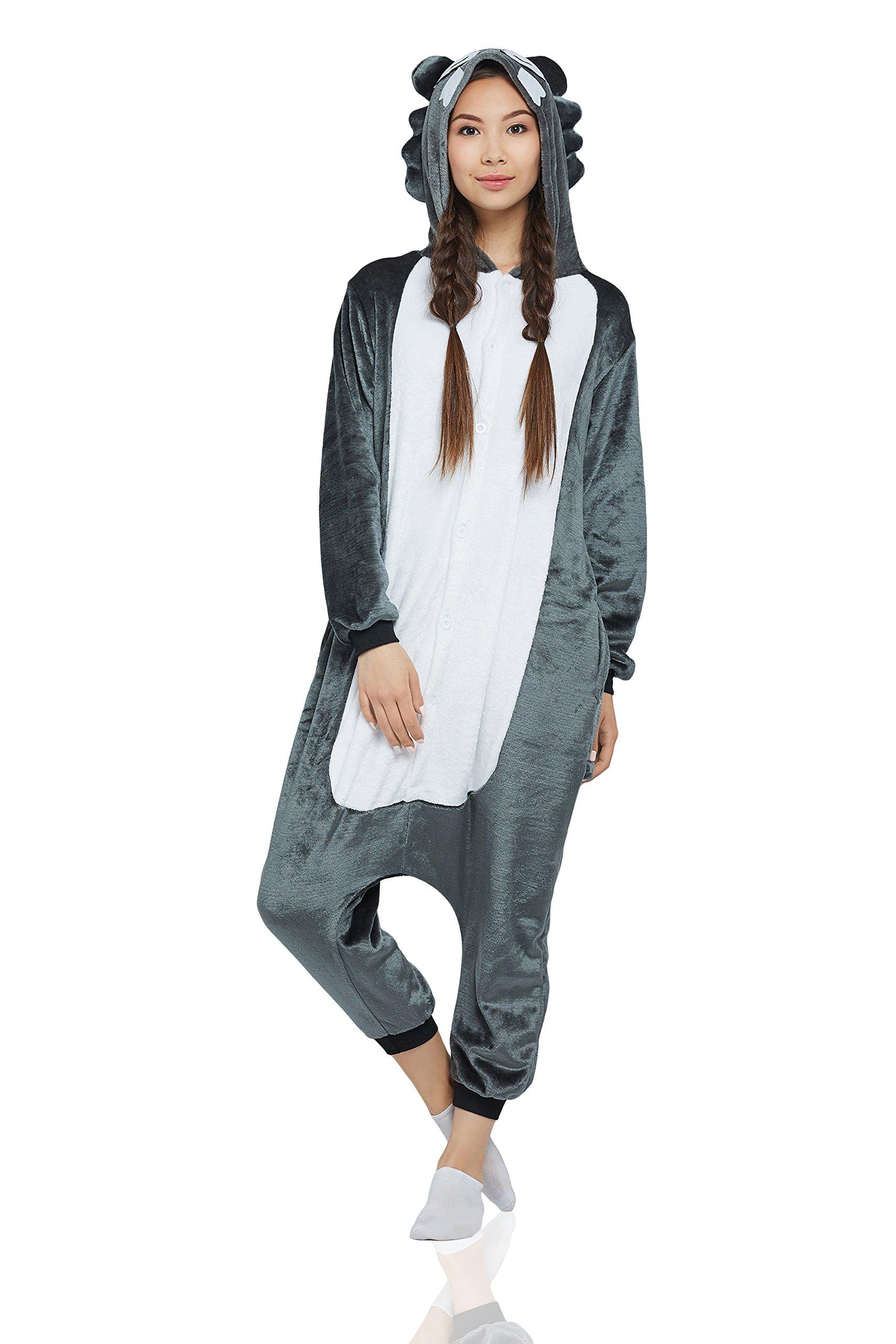 Nothing But Love Adult Wolf Kigurumi Animal Onesie Pajamas Plush Onsie One Piece Cosplay Costume (Large, Grey, White)