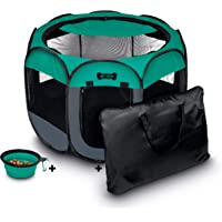 """Ruff 'n Ruffus Portable Foldable Pet Playpen + Carrying Case & Collapsible Travel Bowl (Extra Large (48"""" x 48"""" x 23.5…"""