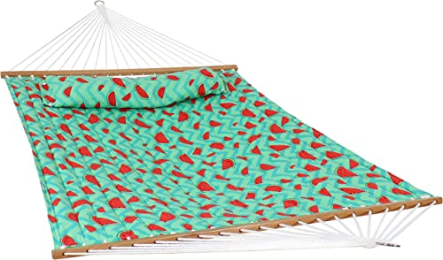 Sunnydaze 2-Person Quilted Watermelon Printed Fabric Spreader Bar Hammock and Pillow – Large Modern Hammock with Hanging Chains – Heavy Duty 450-Pound Weight Capacity – Watermelon and Chevron