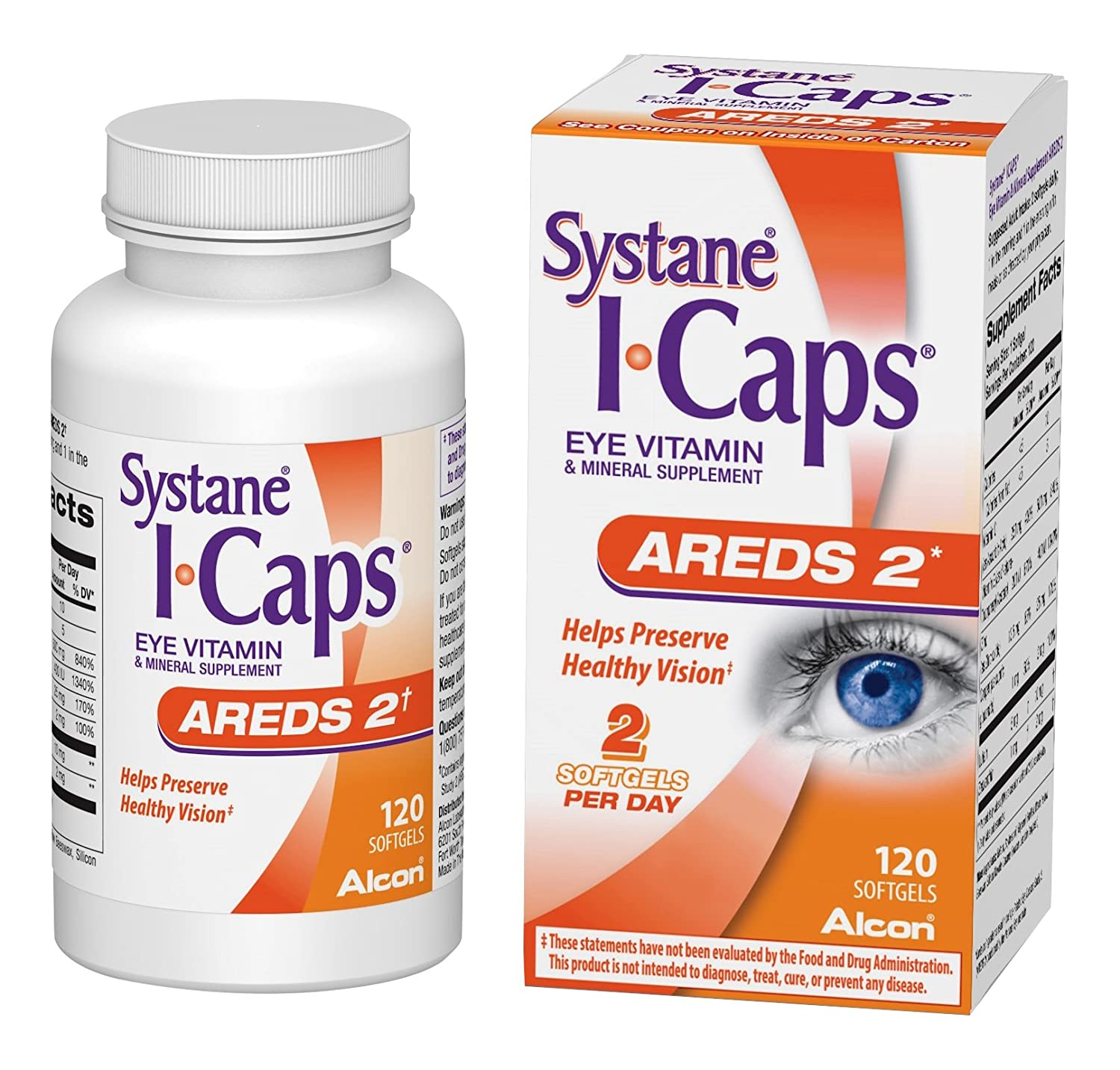 Systane ICaps Eye Vitamin Mineral Supplement, AREDS 2 Formula, 120 Softgels