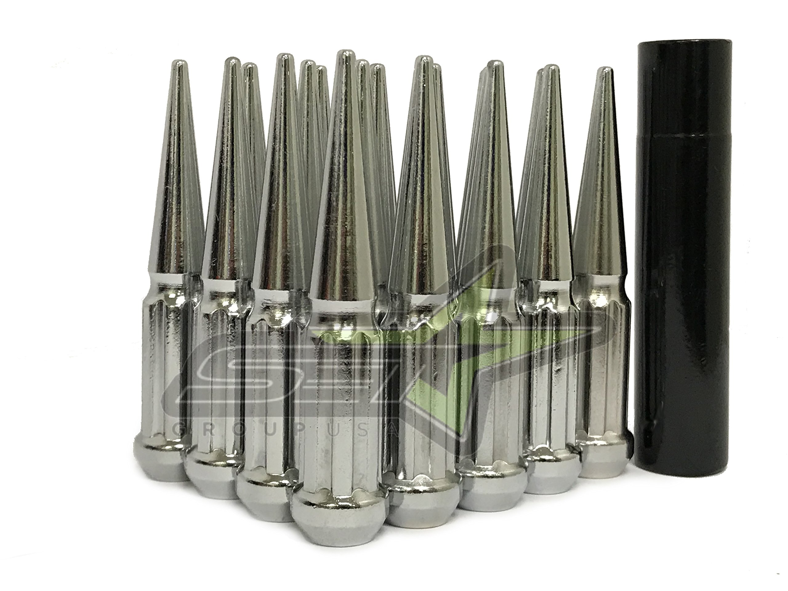 SET Group USA 20 Chrome Anti Theft Spline Spike Lug Nuts 12x1.5 Thread Pitch | Tall Spiked Locking Lug Nuts 4.5'' Tall