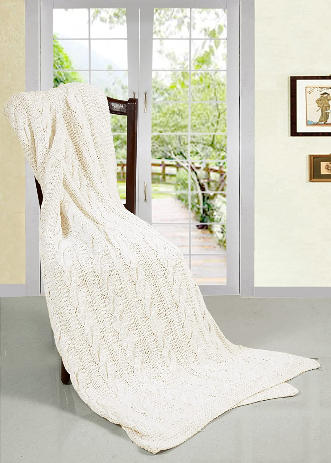 EHC Super Chunky Hand Knitted Cotton Blanket Bed Throw, Cream Elitehousewares E9-HKT1215CR