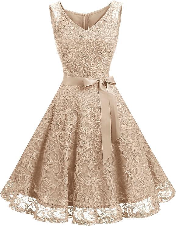 1950s Party Dresses & Prom Dresses for Sale Dressystar Women Floral Lace Bridesmaid Party Dress Short Prom Dress V Neck  AT vintagedancer.com