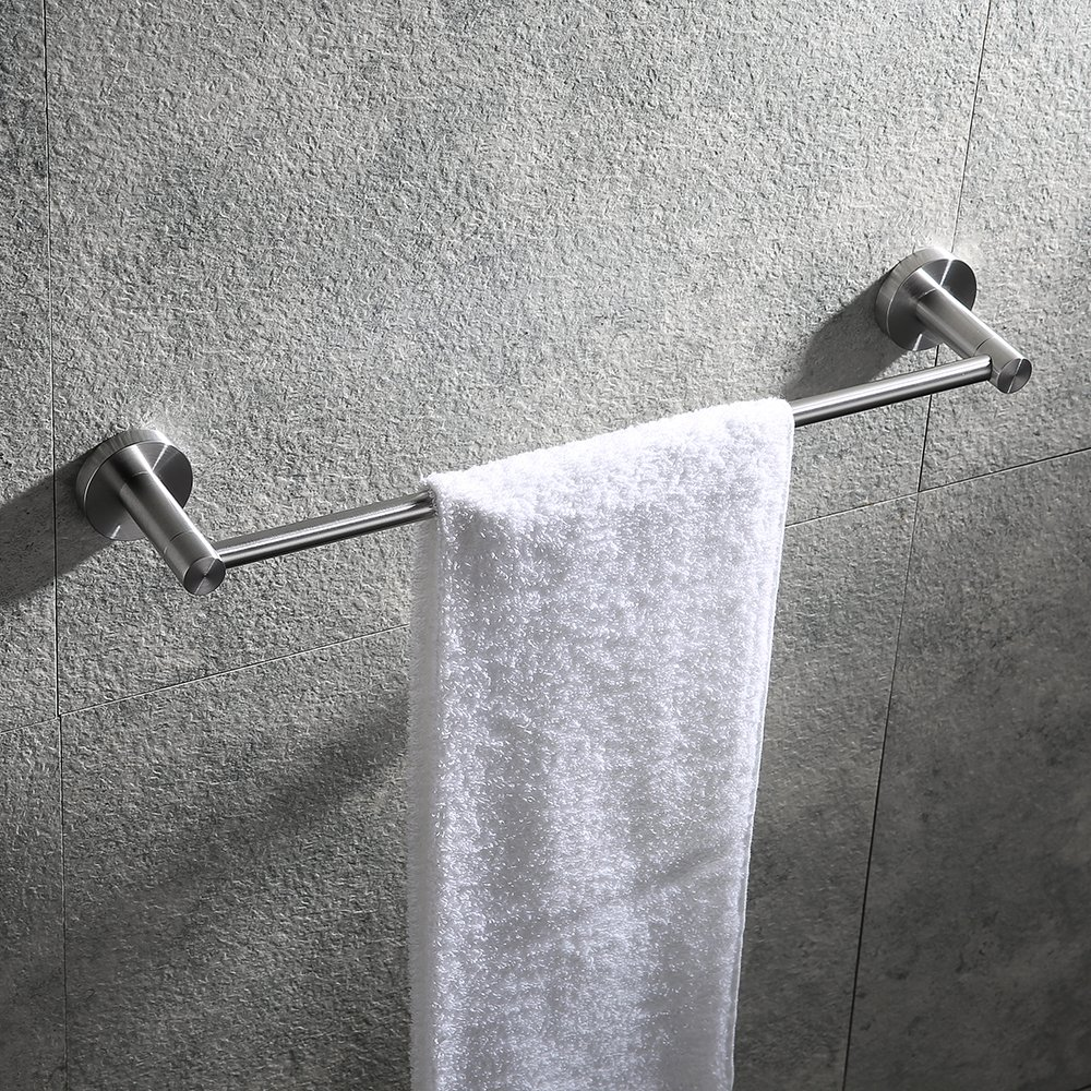 Hoooh 18-Inch Towel Bar for Bathroom - Brushed Stainless Steel Bath Single Towel Hanger Rod Wall Mounted, A110L45-BN