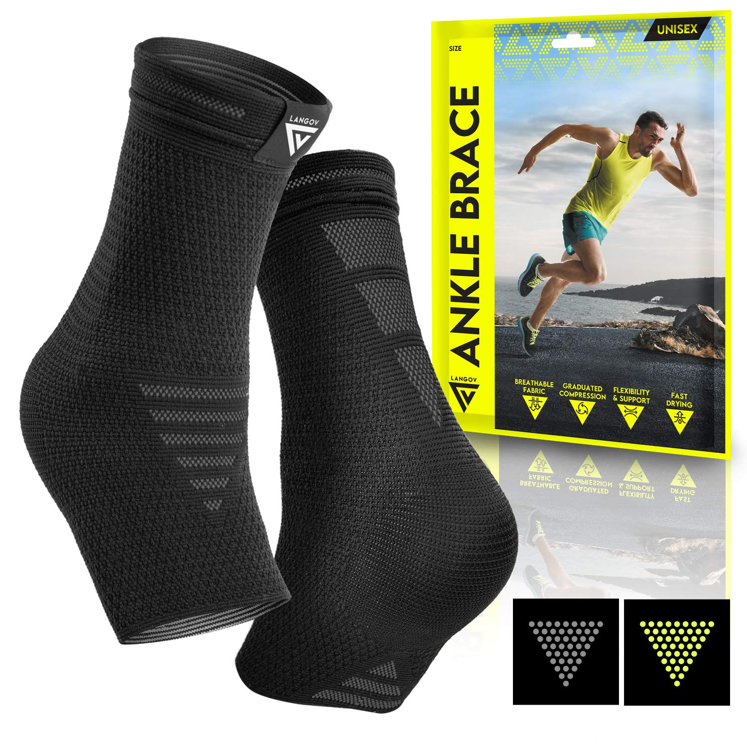 Langov Ankle Brace Support for Men & Women (Pair), Best Compression Sleeve Socks for Your Foot or Sprained Ankle, Helps With Achilles Tendonitis and Injury Recovery, swelling or heel pain, nano socks: Industrial & Scientific
