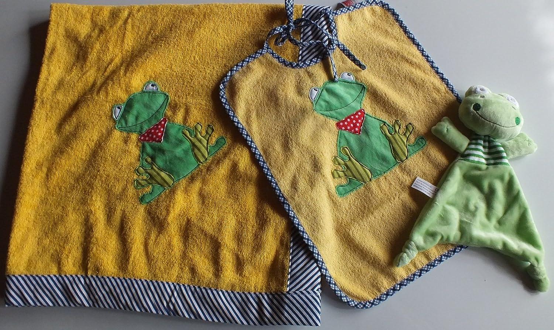 Taufe Lunchbox-.L/ätzchen-Badetuch zur Geburt Baby unisex Geschenkset Pr/äsentkorb 4eilig-Kuschelfrosch gelb