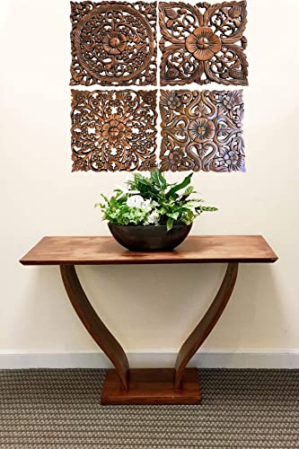 Asiana Home Decor-Floral Carved Wood Wall Art Plaques. Tropical Home Decor. 12″ Brown