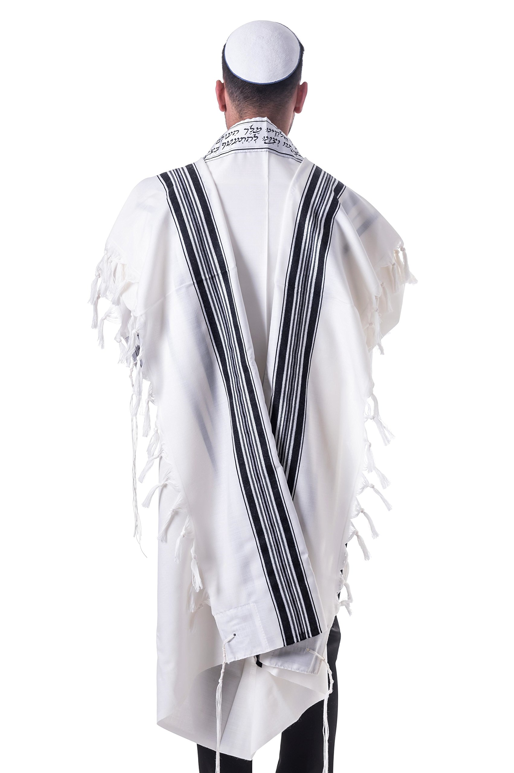 Black & Silver 100% Wool Kosher Tallit Prayer Shawl Made by Mishcan Hathelet (size 60 - (55 inches x 73 inches))