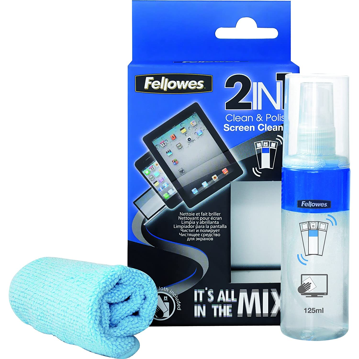 Amazon.com: Fellowes 2-in-1 Clean and Polish Kit includes 125ml Screen Cleaner with Micro Fibre Cloth: Health & Personal Care
