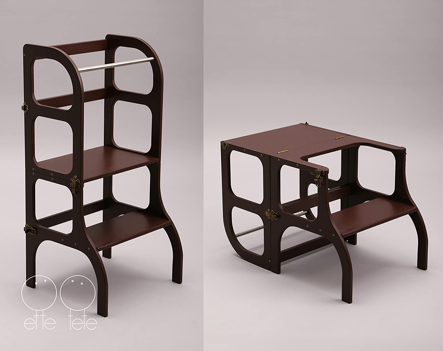 Montessori furniture Learning tower/table / chair, toddler Kitchen helper Step stool - dark BROWN color/antique BRASS clasps
